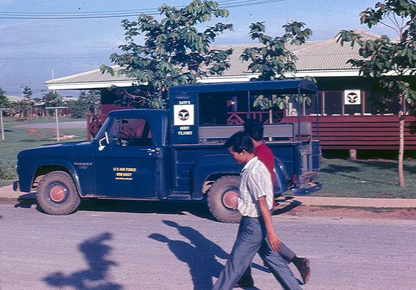 The 34th TFS pickup in front of a hootch, 1967.