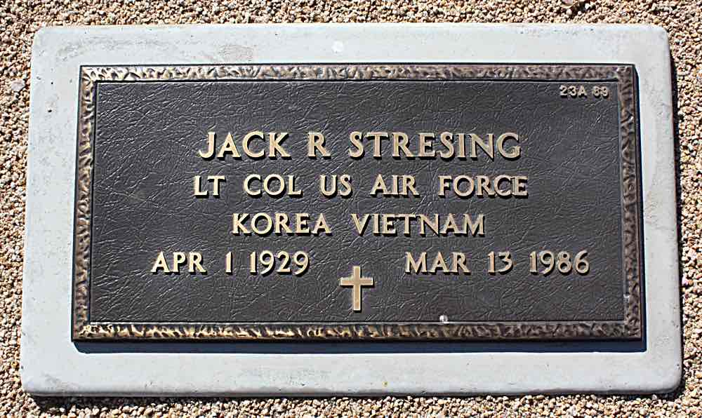 Stressing grave marker