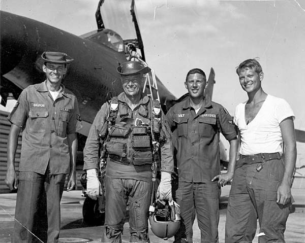 This picture was taken in June, 1968, and shows a 34th F-105D, #60-0449. Left to right: Crew chief Jim Gagnon, Col. Allen K. McDonald (vice wing/cc took over the wing after Col. Douglas left), another crew chief, Ben Wilt, and bomb load crew chief Johnson.