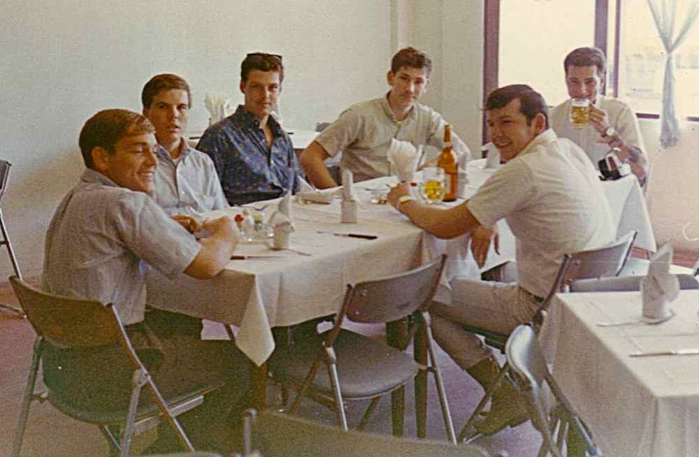 A bunch of crew chiefs enjoy a break, late 1968. Send names if you recognize them. (Courtesy of Leon Hutchings.)