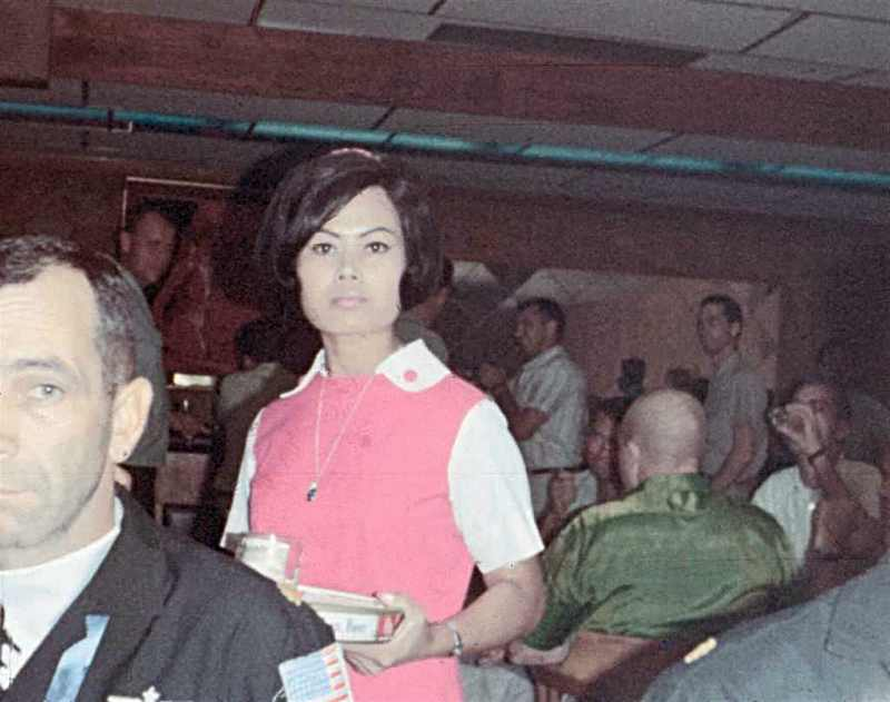 Bob Moore in left foreground. Doug Beyer recently identified the waitress as Lek. (Photo courtesy of Joe Sechler)
