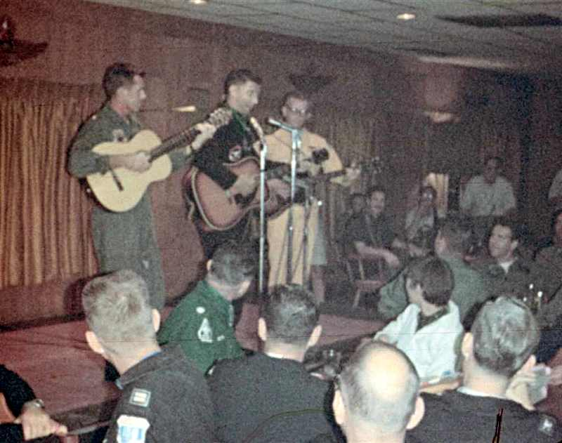Appears to be Irv LeVine in the center entertaining the troops. (Courtesy of Joe Sechler)