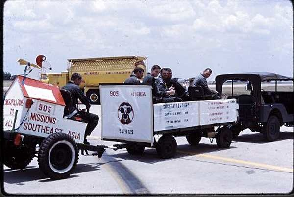34th TFS - May 1969. This is the end of tour for five Lieutenants and a Captain from the 34th. They are: Capt Lindell, Lt Bryan, Lt Hartman, Lt Hoffmeyer, Lt Ron Stafford, Lt Tilley. One of them, Ron Stafford, was KIA in a F-111 from Takhli in Nov '72. (Courtesy of Bane Lyle)