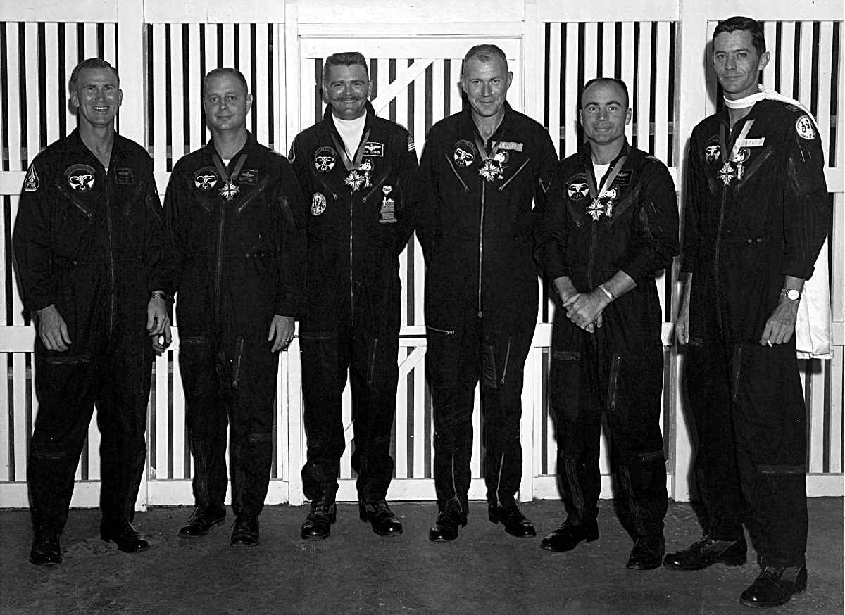Party suits on Don Hodge, Ray Vissotzky, Rod Giffin, George Clausen, Ken Mays, & Hugh Davis; late 1967. (Courtesy of Hugh Davis.)