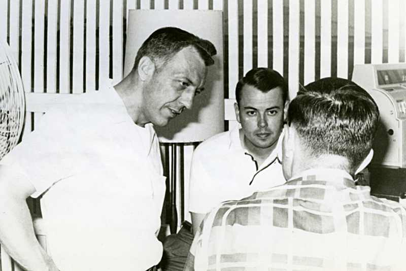Don Revers and Joe Sechler listening intently to Sam Armstrong. Sometime in 1968 (Courtesy of Joe Sechler).