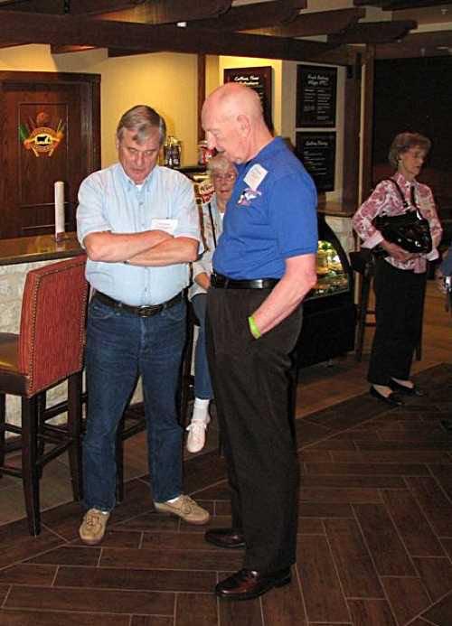 John Murphy & John Wambough trying hard to remember; Kay Reed in background.