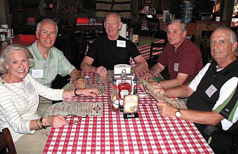 Frances & Joe Sechler, John Wambough, John Murphy, Harry Paddon eating BBQ at Riscky's.