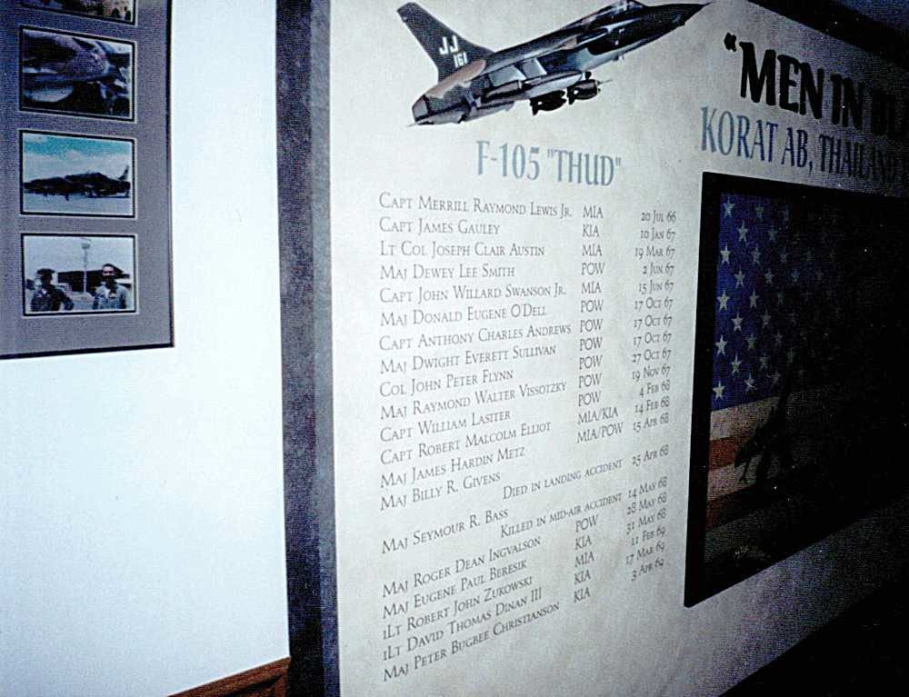 34 FS Briefing Room F-105 POW- KIA Display.