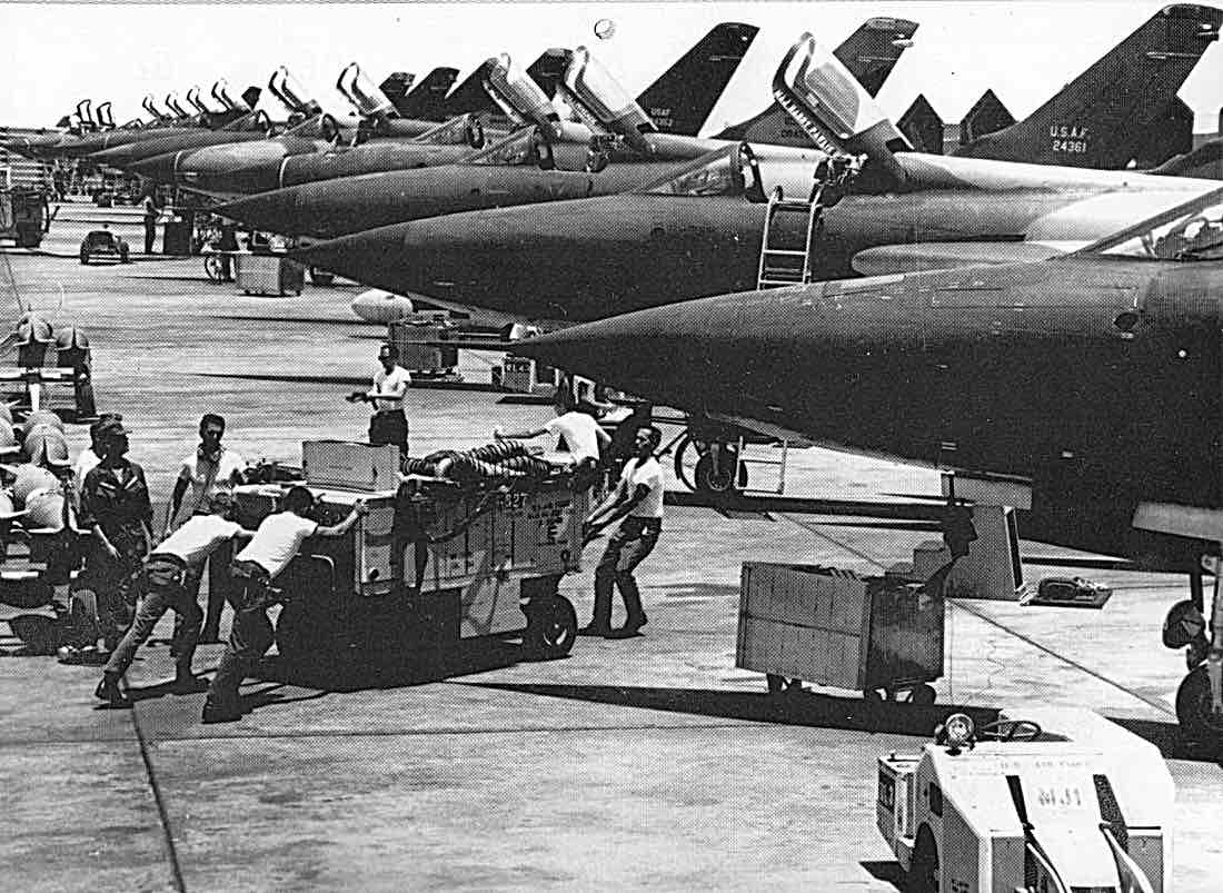 The flight line in early 1967. Major Harry Pawlik's name is on one aircraft.